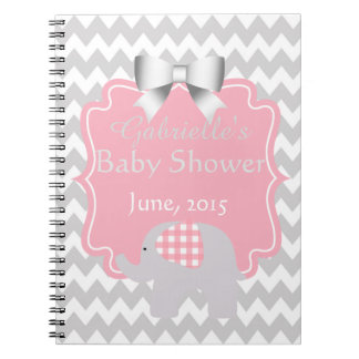 Beautiful Pink Baby Shower Adorable Elephant Spiral Notebook