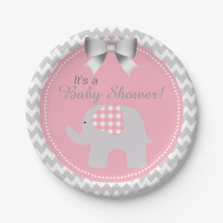 Beautiful Pink Baby Shower Custom Cute Elephant 7 Inch Paper Plate