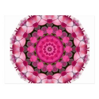 Beautiful pink Blossoms 001F 01, Nature Mandala Postcard