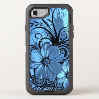 beautiful pink blue flowers vector art OtterBox defender iPhone 8/7 case