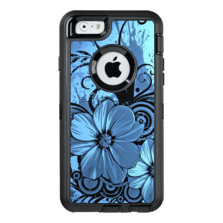 beautiful pink blue flowers vector art OtterBox defender iPhone case
