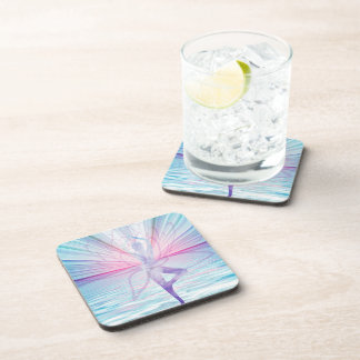 Beautiful Pink & Blue Vrikshasana Yoga Drink Coaster