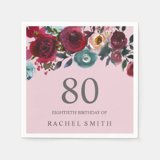 Beautiful Pink Burgundy Floral 80th birthday Party Disposable Napkin