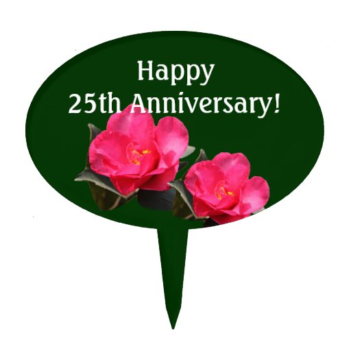 beautiful pink camellia flowers anniversary cake toppers