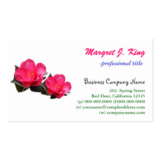 beautiful pink camellia flowers business card templates