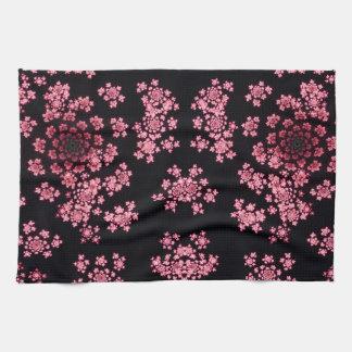 Beautiful pink computer generated  fractal flowers tea towel