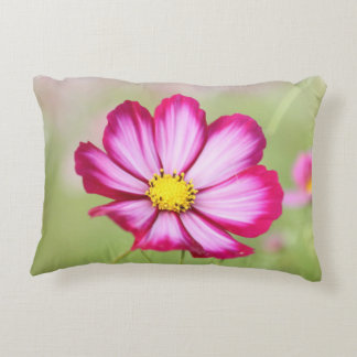 Beautiful pink cosmos flower accent cushion