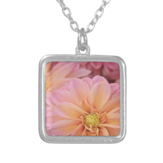 Beautiful pink dahlia flowers silver plated necklace