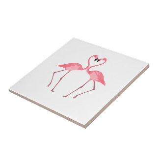 Beautiful Pink Flamingos Love Ceramic Tile