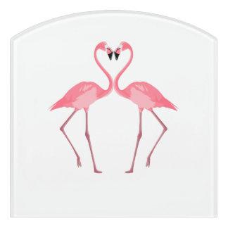 Beautiful Pink Flamingos Love Door Sign