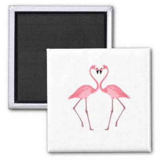 Beautiful Pink Flamingos Love Magnet