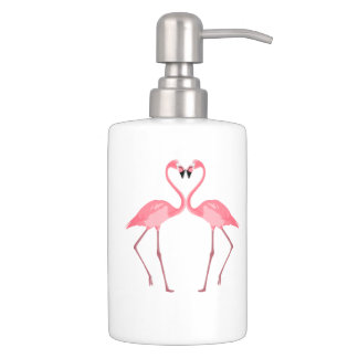 Beautiful Pink Flamingos Love Soap Dispenser And Toothbrush Holder