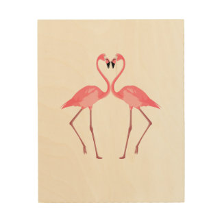 Beautiful Pink Flamingos Love Wood Print