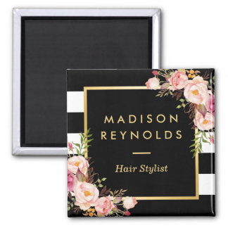 Beautiful Pink Floral Black White Striped Magnet