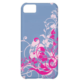 Beautiful Pink Floral Swirls on Blue Gifts for Her iPhone 5C Case