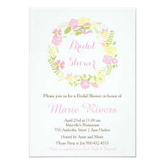 Beautiful Pink Floral Wreath Bridal Shower Card