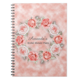 Beautiful Pink Floral Wreath Bridal Shower Plans Notebooks