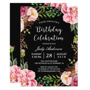 Beautiful Pink Floral Wreath Girly Birthday Party Invitation