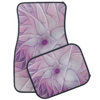 Beautiful Pink Flower Modern Abstract Fractal Art Floor Mat