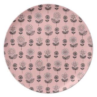 Beautiful Pink Flower Pattern Dinner Plates