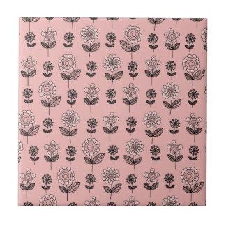 Beautiful Pink Flower Pattern Ceramic Tile