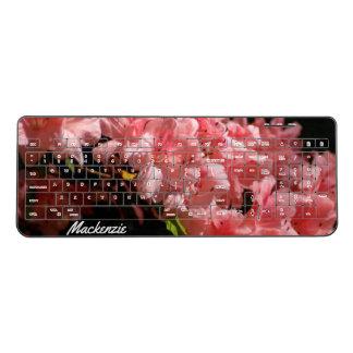 Beautiful Pink Flowers Personalised Wireless Keyboard