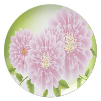 Beautiful Pink Flowers Plate