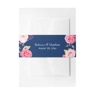 Beautiful Pink Garden Floral Navy Blue Wedding Invitation Belly Band