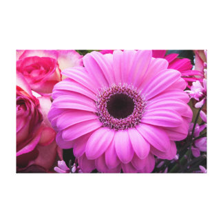 Beautiful pink gerbera flower stretched canvas prints