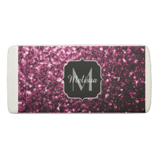 Beautiful Pink glitter sparkles Monogram Eraser