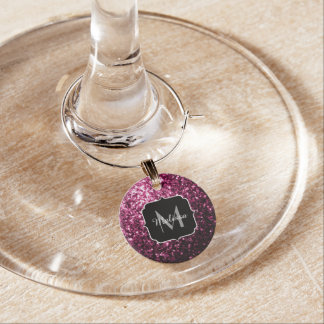 Beautiful Pink glitter sparkles Monogram Wine Charm