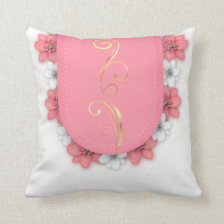 Beautiful Pink Gold Silver Floral Pillows