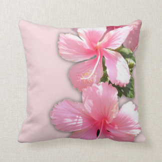 Beautiful Pink Hawaiian Hibiscus Flowers Pillow