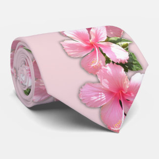 Beautiful Pink Hibiscus Flowers on Pink Necktie