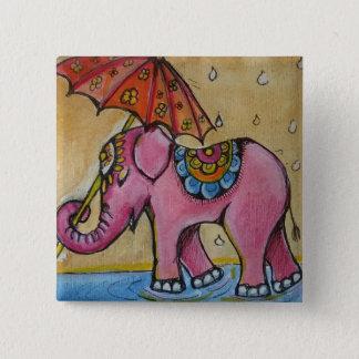 Beautiful Pink indian elephant illustration 15 Cm Square Badge