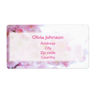 Beautiful Pink Japanese Cherry Blossom Shipping Label