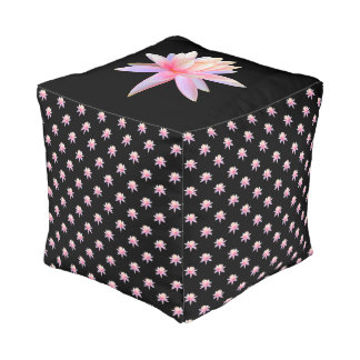 Beautiful Pink Lily Lotus Art Cool Trendy Unique Pouf