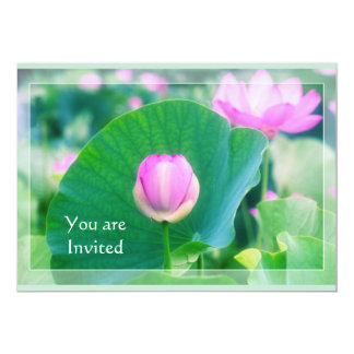 Beautiful Pink Lotus Bud Flower Green Leaf Blossom Card