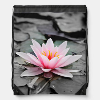 Beautiful Pink Lotus Flower Waterlily Zen Art Drawstring Bag