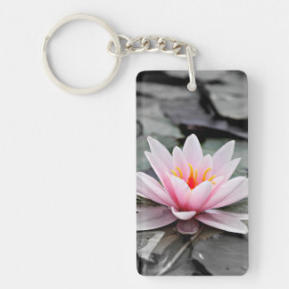 Beautiful Pink Lotus Flower Waterlily Zen Art Key Ring