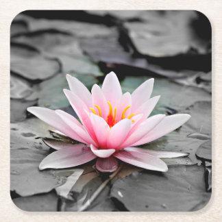 Beautiful Pink Lotus Flower Waterlily Zen Art Square Paper Coaster
