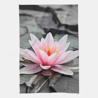 Beautiful Pink Lotus Flower Waterlily Zen Art Tea Towel