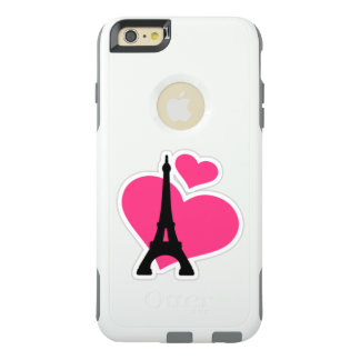 Beautiful pink love hearts with Eiffel Tower OtterBox iPhone 6/6s Plus Case
