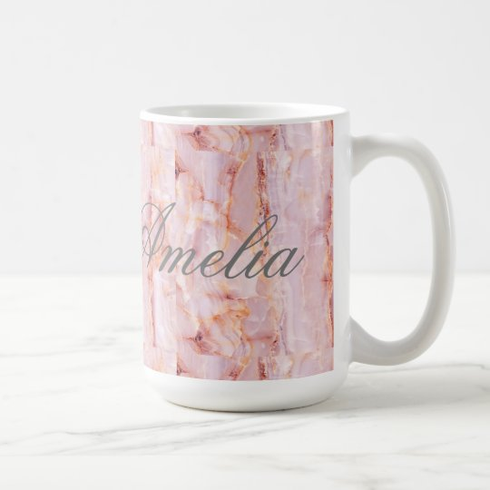 beautiful,pink,marble,girly,nature,stone,elegant,g coffee mug