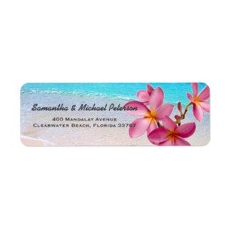 Beautiful Pink Plumeria Flowers Beach Return Address Label