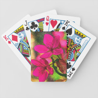 Beautiful pink red apple blossom. Girly Bicycle Playing Cards