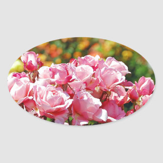 Beautiful pink rose garden print oval sticker