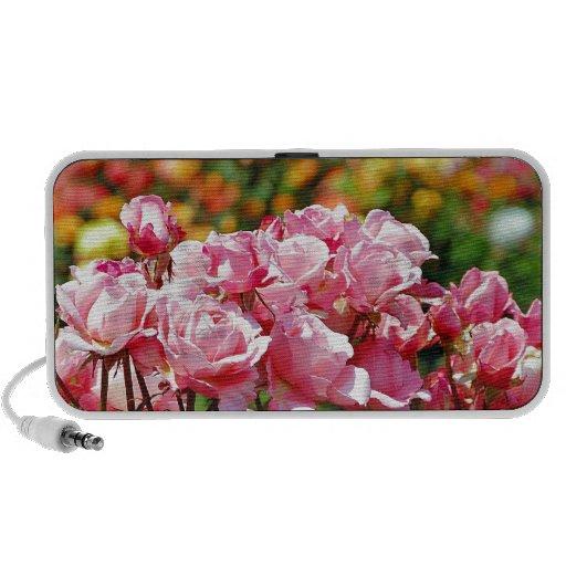 Beautiful pink rose garden print iPod speaker