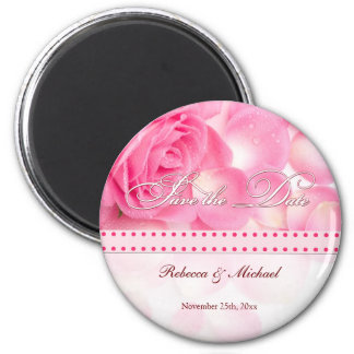 Beautiful Pink Rose Save the Date 6 Cm Round Magnet