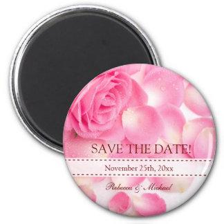 Beautiful Pink Rose Save the Date Fridge Magnet
